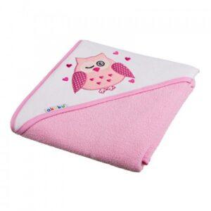Akuku Βρεφική πετσέτα με κουκούλα – PINK 100×100 cm
