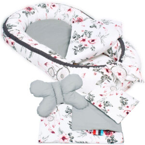 Palulli Φωλίτσα ύπνου μωρού σετ 5 σε 1 – FLOWER GREY