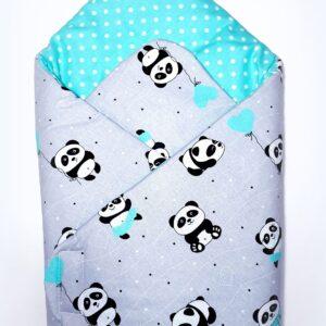Κουβερτάκι αγκαλιάς – Υπνόσακος PANDA MINT