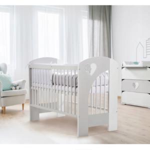 Βρεφικό Κρεβάτι KLUPŚ Heart Λευκό-Γκρι 120X60
