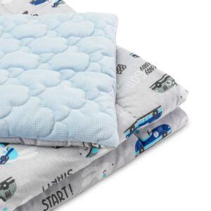 Sensillo Σετ Κρεβατιού Μαξιλάρι Πάπλωμα VELVET- BUNNIES/BLUE