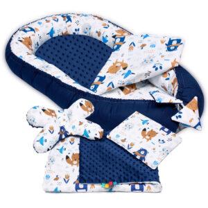 Palulli Φωλίτσα ύπνου μωρού σετ 5 σε 1 – AZTEC MINKY NAVY